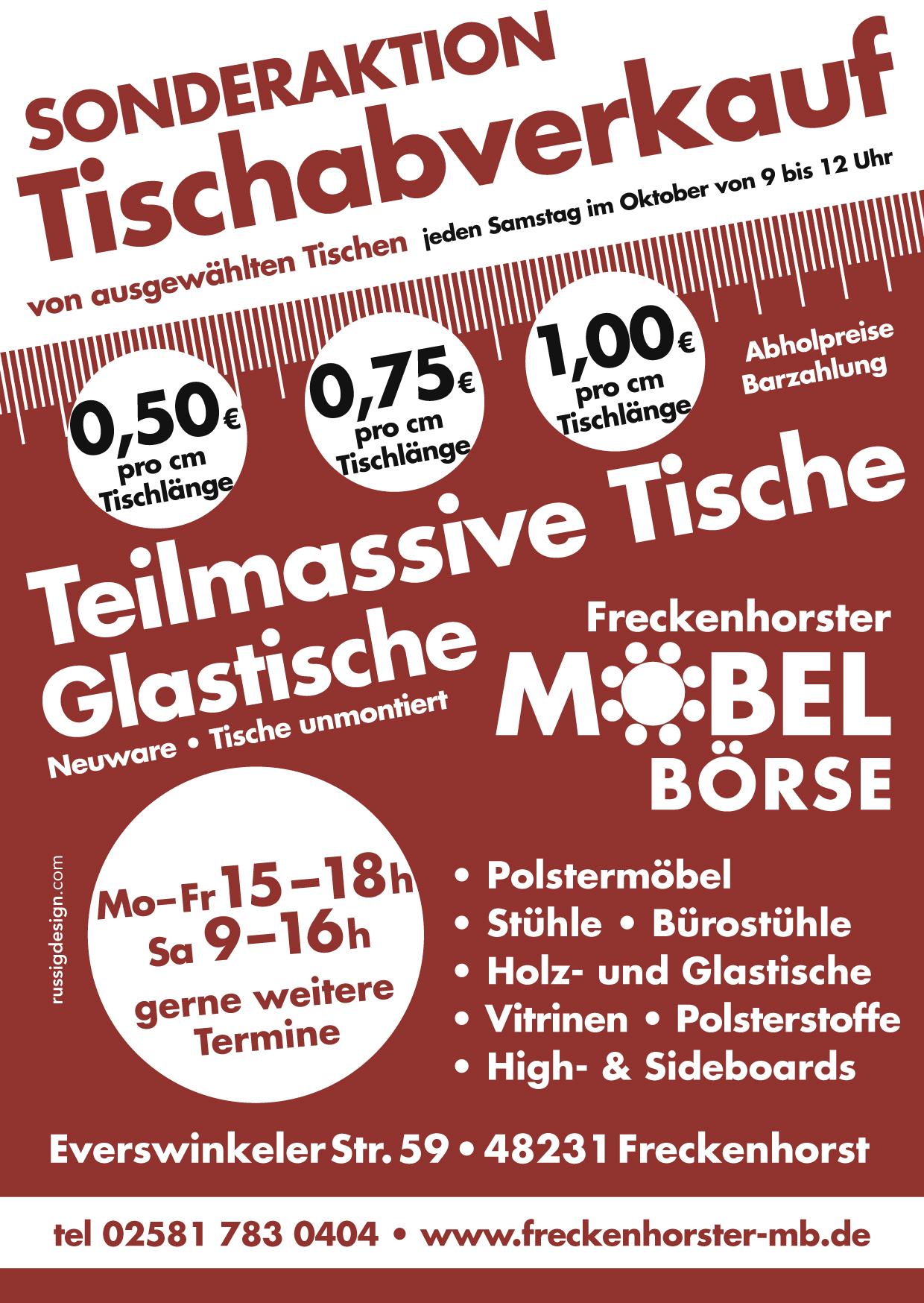 Freckenhorster Möbelbörse – Sonderaktion Tischabverkauf