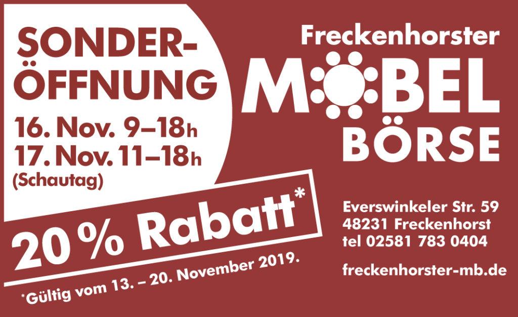 Freckenhorster Möbelbörse - Sonderöffnungszeiten und 20 % Rabatt zum Adventsbasar der Freckenhorster Werkstätten 2019
